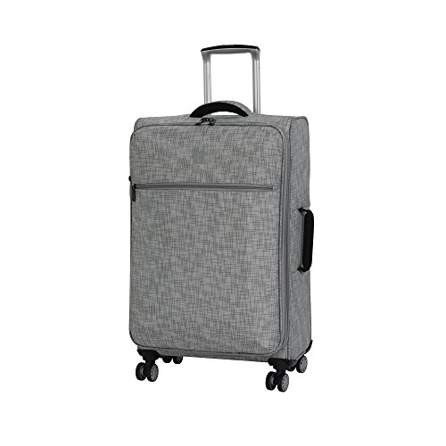 it luggage 26.8' Stitched Squares 8 Wheel Lightweight Expandable Spinner, Flint Grey