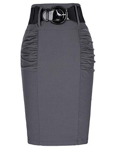 Belle Poque Stretchy Pencil Skirts for Women Slim Fit Skirt Dark Gray, Size X-Large KK271-2
