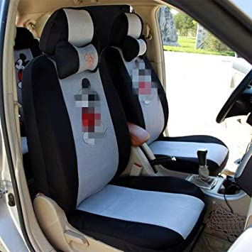 Color Name : Bear black beige Weichuang 12pcs Cartoon Car Seat Cover Universal Auto Seats Protector Breathable Automobil Interior Cushion Accessories for Girls