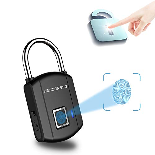 Fingerprint Padlock, Outdoor Smart Biometric Thumbprint Keyless Lock, One Touch Unlock Portable USB Rechargeable Anti Theft School lock, for Gym Suitcase Backpack Luggage Door Office - Elegant Black