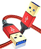 USB A to USB A 3.0 Cable 2pack(6.6ft+6.6ft),AkoaDa USB A Male to A Male Cable Double End USB Cord Compatible with Data Transfer Hard Drive Enclosures,Cameras,DVD Player,Laptop Cooler and More(Red)