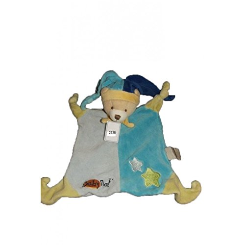Babynat–Doudou Babynat oso plana azul y estrellas verde alequin gorro–2338