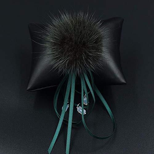THTHT Handgemaakte broche pompon bont bol ribbon modieus zilveren broche aansteker cadeau voor je bruiloft bruid party geschenk vrouwen marine te verzenden