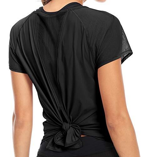 QUEENIEKE Women Yoga Tied Up Mix & Mesh Short Sleeve T-Shirt Sports Tee Top S Color Black-