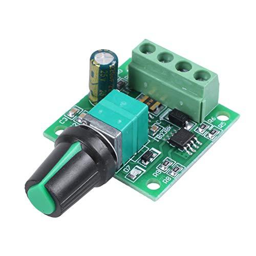 TEEAN Regulador de velocidad del motor de 1.8V 3V 5V 6V 7.2V 12V 2A 30W (PWM) Interruptor de controlador ajustable 1803BK