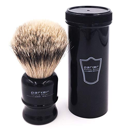 Parker Safety Razor,100% Silvertip Travel Shave Brush with Case, Black - Also Great for Everyday Use!