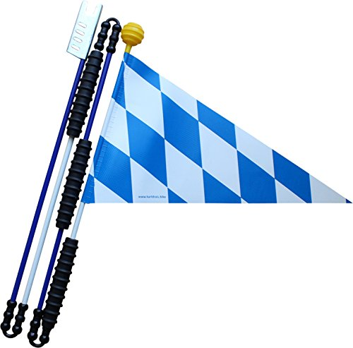 Karl Drais Fahrradwimpel Bayern | Reißfest aus Heavy Duty LKW Plane | Fahrradwimpel (160 cm Fahrradfahne Sicherheitswimpel)