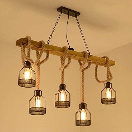 E27 LED vintage lámpara colgante comedor madera, luz colgante rectangular de sala...