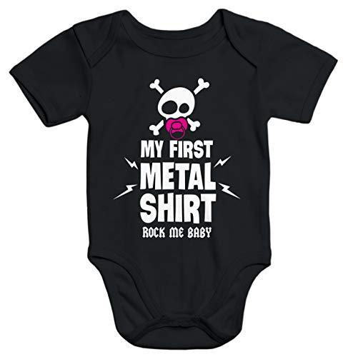 MoonWorks® Kurzarm Baby Body My First Metal Shirt Hardrock Heavy Metal Bio-Baumwolle schwarz 0-3 Monate