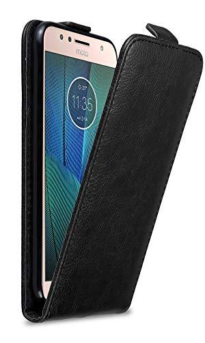 Cadorabo Hülle für Motorola Moto G5S Plus in Nacht SCHWARZ - Handyhülle im Flip Design mit Magnetverschluss - Hülle Cover Schutzhülle Etui Tasche Book Klapp Style