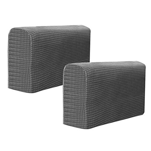 BESPORTBLE Chair Arm Protectors Sofa Armrest Cover Stretch Armchair Slipcover Protector Elastic Home Office Recliner Couch Loveseat Protective Cloth 2pcs (Dark Grey)