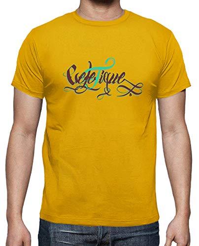 latostadora - Camiseta Velefique para Hombre Amarillo Mostaza 3XL