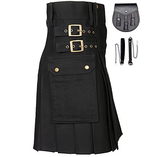 MajesticUSA Black Utility Kilt for Men Traditional Scottish Kilt 100% Cotton Jeans - Leather Sporran, W 38