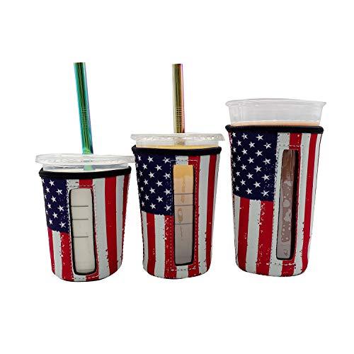 Wiederverwendbare Isolierhüllen für Eiskaffeetassen, mit Fenster kalte Getränke und Neopren-Becherhalter Starbucks Kaffee, McDonald's Dunkin Donuts, mehr (amerikanische Flagge), 3 Stück