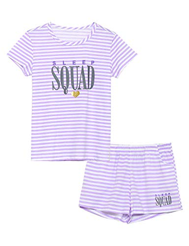 Product Image of the Cozchique Summer Pajamas for Girls ? Stripe & Glittering Heart PJS Pal Cute...