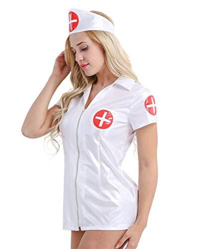 FJJ-HUSHIFU, Traje de Enfermera de Cuero de imitación for Mujer Uniforme Cosplay Sexy Juego de Roles Disfraces Lencería Traje de Club Nocturno Mini Vestido de Manga Corta (tamaño : XL)