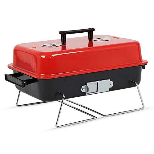 418Bfn8N8PL - AGWa Tragbare Eisen Holzkohle Grill Kochen Grill Edelstahl Outdoor Camping Grill Werkzeug Küche Grill Zubehör Metall Kochgeschirr (rot)