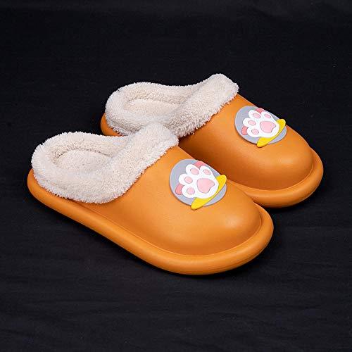 Chanclas Antideslizantes de Felpa para Mujer,Los deslizadores impermeables lindos del algodón de las mujeres,gruesos interiores del hogar shoes-37-38_Orange,Zapatillas De Casa Mujer Pantuflas De Luj