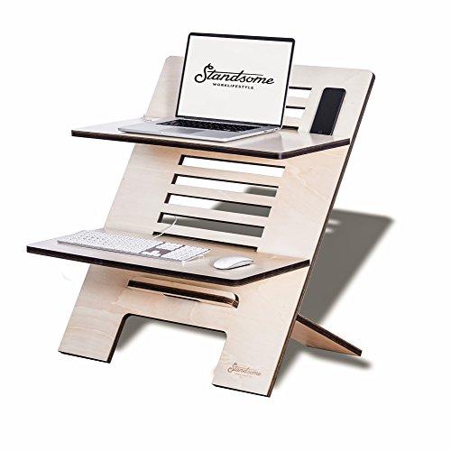 Standsome Double Crafted – Höhenverstellbarer Schreibtischaufsatz aus Holz, Sitz Steh Schreibtisch, höhenverstellbarer Stehpult Aufsatz, Workstation, ergonomischer Stehschreibtisch