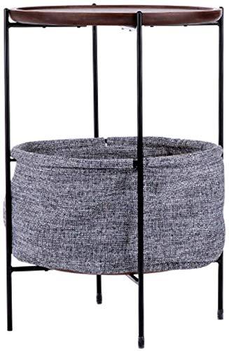 Elegante kleine salontafel met ronde tafel in de woonkamer, woonkamerbank en salontafel in moderne, minimalistische houten mand, tijdschriftenrek