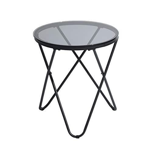 Furniture-R France Runder Beistelltisch aus Glas, Couchtisch, Schwarz, für Wohnzimmer und Schlafzimmer