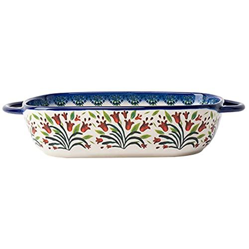 Cuenco de cerámica, cuenco de queso al horno microondas, cuenco de leche de avena para frutas y verduras (Color : Blue, Size : 23.5 * 13 * 5cm)