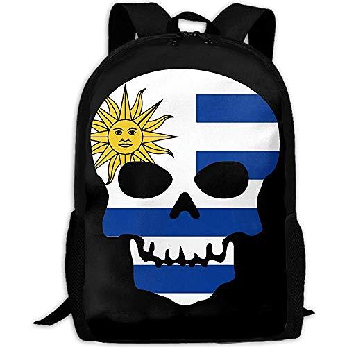 Esqueleto de cráneo Banderas de países de Uruguay Bolso de Hombros al Aire Libre Mochila de Tela Mochilas de usos múltiples para Adultos
