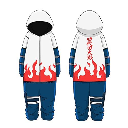 Onesie Pijamas, Hombres Anime japonés Ninja Hokage Todo en uno Disfraces Mono Cosplay Loungewear Ropa de Dormir Albornoz