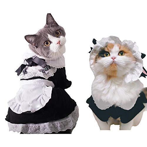 FLAdorepet huisdier meid kostuum met hoed kat halloween partij kostuum outfits voor kleine middelgrote hond zwart, S, Zwart