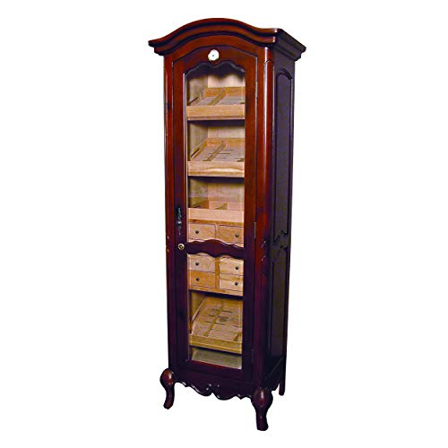 Quality Importers Trading Antique Premium Quality Tower Humidor with 8 Drawers, 4 Shelves, 2 Interior A/C Outlets, Holds 3000 Cigars