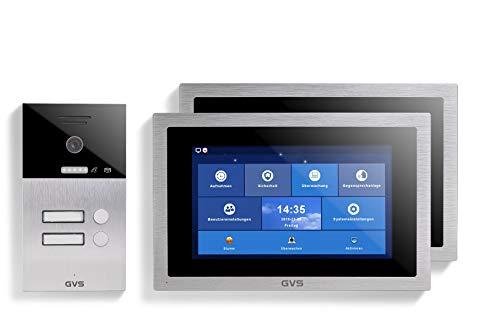 GVS Videoportero IP IP65, 2 monitores de 10 pulgadas, aplicación, cámara HD de 150°, apertura de puerta, memoria de 32 GB, interruptor PoE, juego para 2 viviendas familiares, AVS1097A