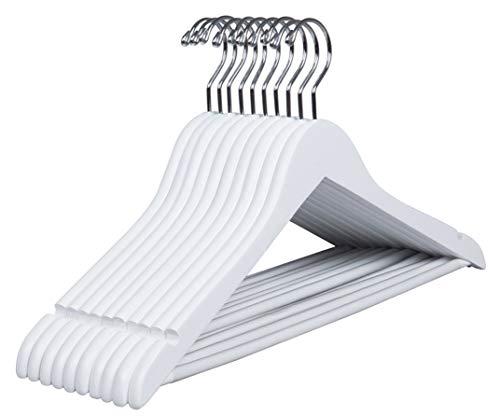 Amber Home 10 Pezzi 44.5cm Grucce Appendiabiti in Legno Bianco Liscio Robusto Nozze Maglietta Camicia Completo Giacca Vestito Giarrettiere con Asta con Scanalatura