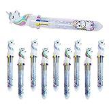 SUNSHINTEK 10er Pack 10-Farben-In-1-Einhorn-Kugelschreiber Druckbare mehrfarbige Gel-Tintenroller Flüssige Tintenstifte für Schulbüro-Partygeschenke