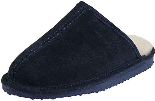 Harrys-Collection Damen Herren Extra Dicke Pantoffeln Merino Lammfell 3 Farben, Farben:Marine, Schuhgröße:44