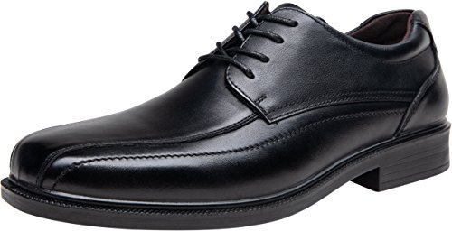 JOUSEN Men's Dress Shoes Black Leather Square Toe Oxford Lightweight Formal Shoes (10,Black)