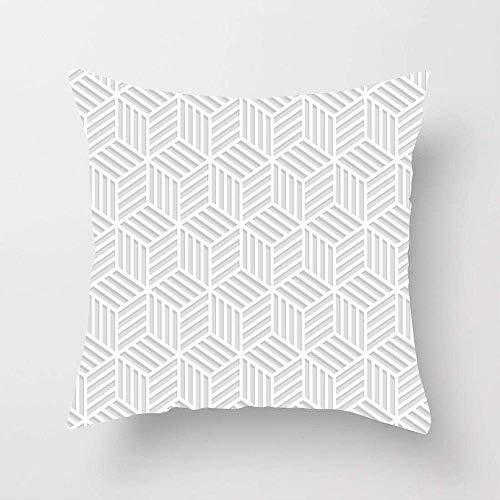 N\A Grau Laser Geo Abstrakt Gestreifte Streifen Würfel Geometrisches Schnittmuster Modern Schwarz Parkett Box Teppich Überwurf Kissenbezug Kissenbezug für Indoor Sofa Schlafzimmer Couch