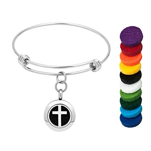 CLY Jewelry Aromatherapy Essential Oil Diffuser Locket Cross Pendant Expandable Bracelet with Colorful Refill Pads Love Christian Cross Celtic Knot Ideal Gift for Women Girl Birthday Mother's Day