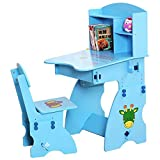Wujiancheng-apparel Sillas Altas Mesa de Estudio for niños inclinable Silla Silla for niños Trabajo de Arte Altura Ajustable para bebé (Color : Azul)