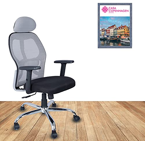 Ergonomic Delux Super Soft Desk Chair High Engineered Frame Durable and Adjustable Office Chair Modern Executive Chair 2D Adjustable Arms Rest with Lumbar Support - Grey