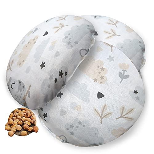 Cojín de huesos de cereza para bebé, juego de 3 unidades, cojín de calor para microondas, cojín de semillas de cereza para niños, pequeño calor y frío
