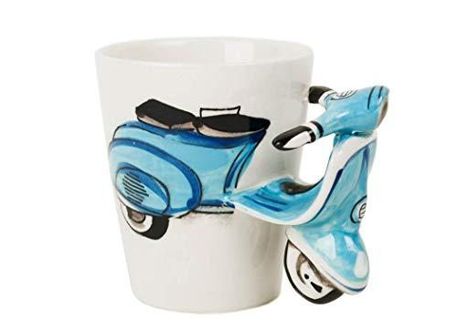 Vespa Kaffeetasse handgefertigt Keramik Blau 225g (10cm x 8cm)