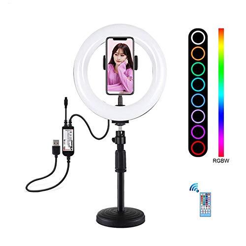 Heqianqian Selfie Anillo de luz de 7.9 pulgadas Bluetooth APP Control remoto regulable RGBW LED curvado anillo luz con soporte de escritorio soporte de teléfono LED anillo de luz