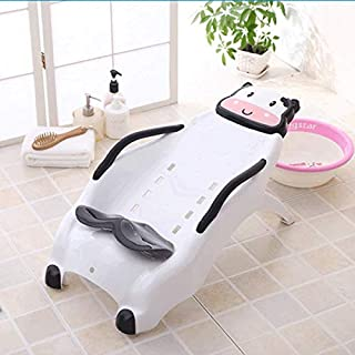 WZHZJ Kids Fashionable Washing Hair Chair,Baby Shampoo Chair,Plastic Children Barber Chair (Color : Black)
