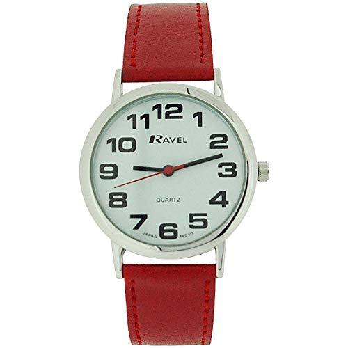 Preisvergleich Produktbild Ravel Damen Riesenuhr weißes Zifferbl. & rotes PU Schnallenarmband R0105.10.1