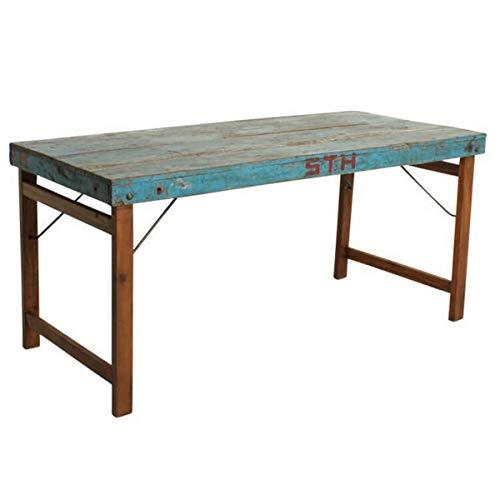 MATHI DESIGN Table Bois Bleu Pliante