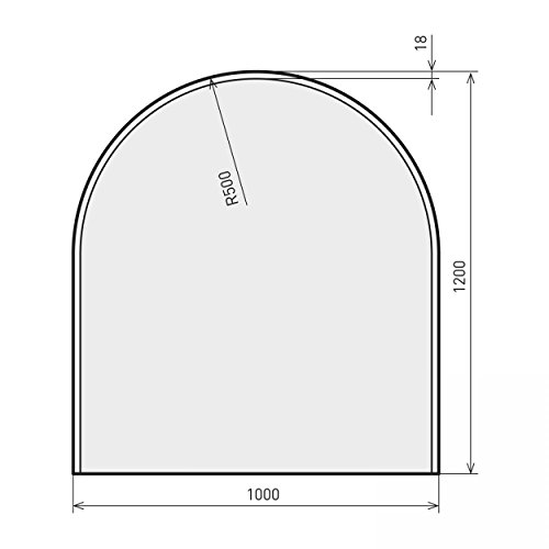 raik B40010 Kamin Glasplatte Zunge 2 inkl. Facette