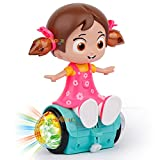 zest 4 toyz 360 degree rotating musical dancing girl doll activity play center toy with flashing lights and bump and go action for kids early learning and educational (Plastic,Multi color,Pack of 1)