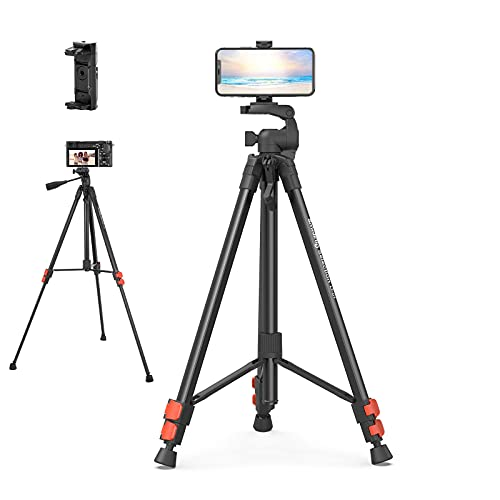 """camera mount with js SMALLRIG 61.8"""" Camera Tripod with Travel Bag,Cell Phone Tripod with Wireless Remote and Phone Holder, Lightweight Aluminum Travel Tripod Fit for Nikon Canon, DSLR Cameras, GoPro"""