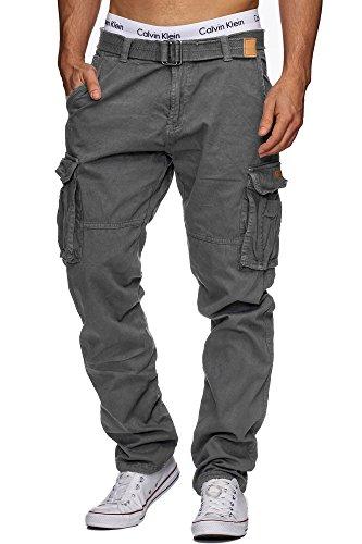 Indicode Herren William Cargohose aus Baumwolle m. 7 Taschen inkl. Gürtel | Lange Regular Fit Cargo Hose Baumwollhose Freizeithose Wanderhose Trekkinghose Outdoorhose für Männer Iron XL