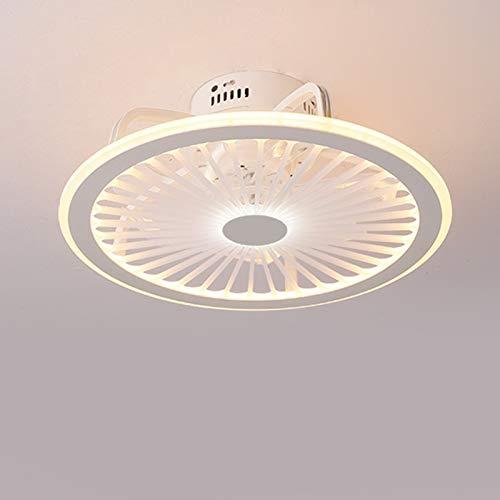 Fan Deckenlampe LED 48cm Deckenventilatoren Leise Fan Deckenleuchte Mit Beleuchtung Fernbedienung Dimmbarer Ventilator Kronleuchter Für Schlafzimmer Wohnzimmer Kinderzimmer Fan Lampe (Weiß)